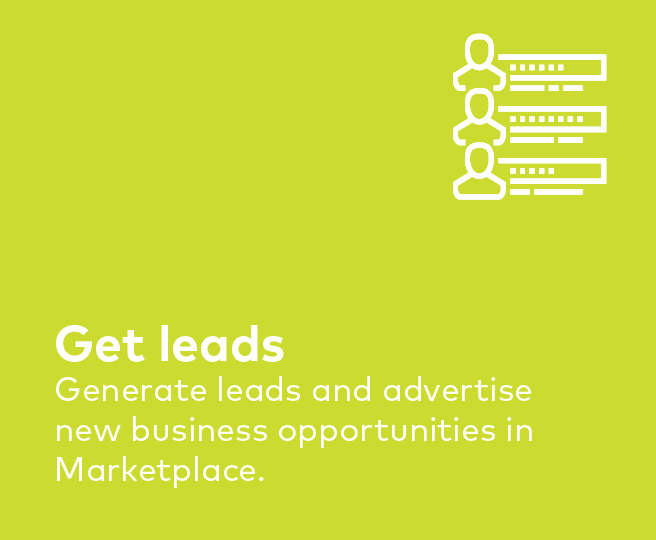 Generate leads and find new business opportunities in the Marketplace.